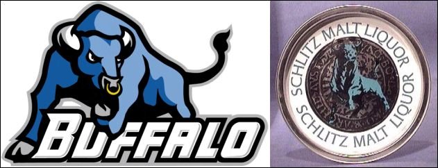 Buffalo Bulls Mascot vs. Schlitz Malt Liquor Blue Bull