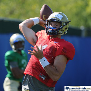 PITTSBURGH, PA - AUGUST 14: The Pitt football team practices at the UPMC Sports Complex on August 14, 2015 in Pittsburgh, PA.